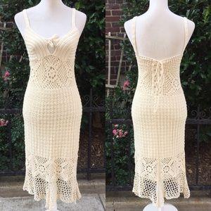 Dresses & Skirts - One of a kind! Unique crochet knit coverup dress